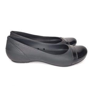 Crocs Ballet Flats Slip On Shoes Black Womens 7